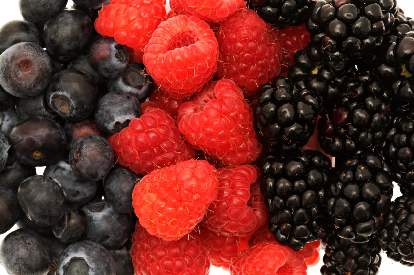 Blackberries, blueberries, and raspberries